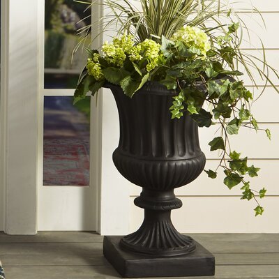 "Classic Ribbed Resin Stone Urn Planter Size: 23"" H x 17"" W x 17"" D, Color: Black, Drain Hole: Drain Hole"