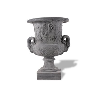 Ram Head Resin Stone Urn Planter Color: Charcoal, Drain Hole: Drain Hole