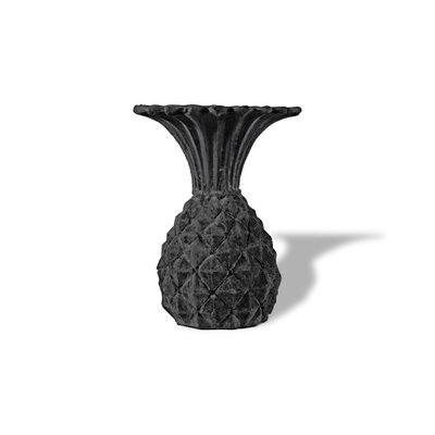 Pineapple Resin Stone Urn Planter Color: Charcoal, Drain Hole: Drain Hole