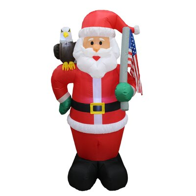 Christmas Inflatable Patriotic Santa Claus with Eagle and American Flag Yard Decoration