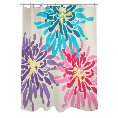 Lowell Floral Woven Polyester Shower Curtain Color: Purple/Pink/Blue