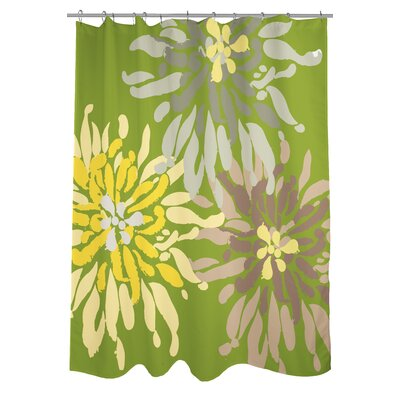 Lowell Floral Woven Polyester Shower Curtain Color: Green/Natural