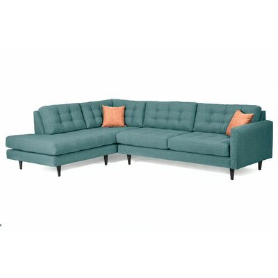 Mid-Century Sectional Body Fabric: Teal, Sectional Orientation: Left Hand Facing