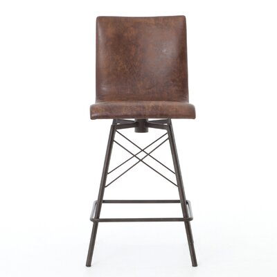 "Elisabeth 26"" SwivelBar Stool Upholstery: Brown"