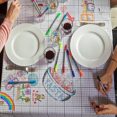 eatsleepdoodle The Doodle Cotton Tablecloth with Wash-Out Pens