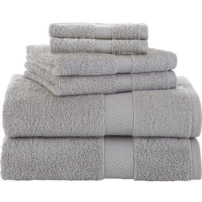 Ringspun 6 Piece 100% Cotton Towel Set Color: Silver