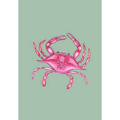 """Pink Crab Vertical Flag Size: 12"""" W x 18"""" H"""
