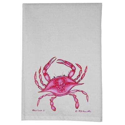 Coastal Crab Hand Towel (Set of 2) Color: Pink