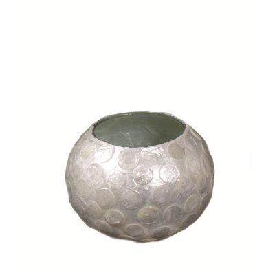 Dekorasyon Gifts & Decor 2 Piece Capiz Shell/Glass Globe Votive with Dots Set