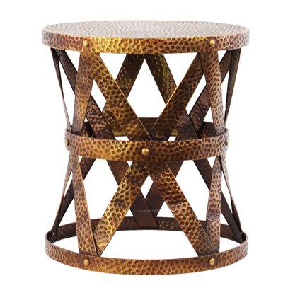 Metal Round Accent Stool Color: Antique Gold