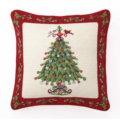 Peking Handicraft Needlepoint Holly Garden Tree Wool Throw Pillow