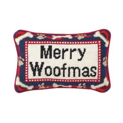 """Peking Handicraft Needlepoint """"Merry Woofmas"""" Blown Wool Throw Pillow"""