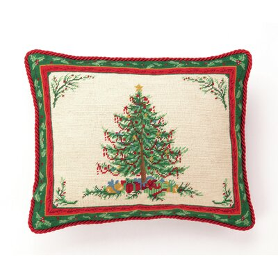Peking Handicraft Hook Classic Christmas with Berry Needlepoint Wool Throw Pillow