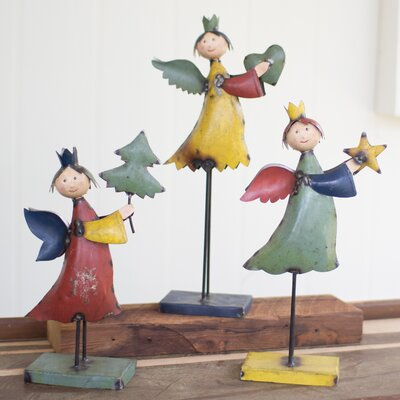 3 Piece Recycled Metal Angel Set