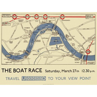 Art Group Boat Race Map by Transport for London Vintage Advertisement Canvas Wall Art