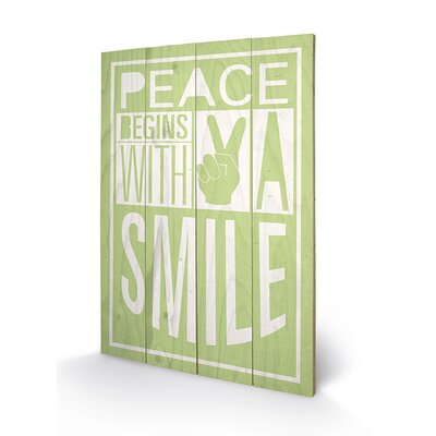 Art Group Peace Begins with a Smile by Sarah Winter Typography Plaque