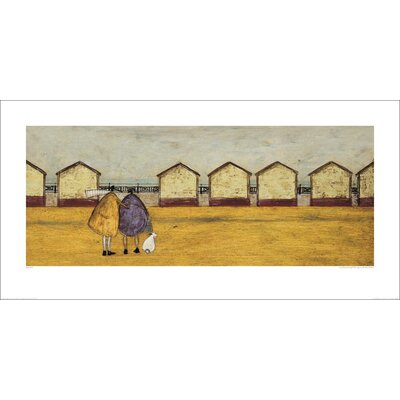 Art Group Looking Through the Gap in the Beach Huts by Sam Toft Art Print
