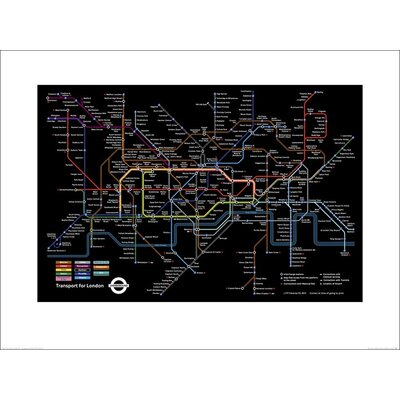 Art Group Transport for London - Black London Underground Map Graphic Art