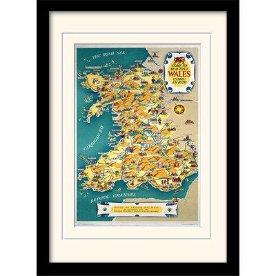 Art Group Wales Vintage Map Framed Graphic Art