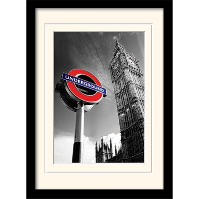 Art Group London Underground Sign and Big Ben Mounted Framed Graphic Art