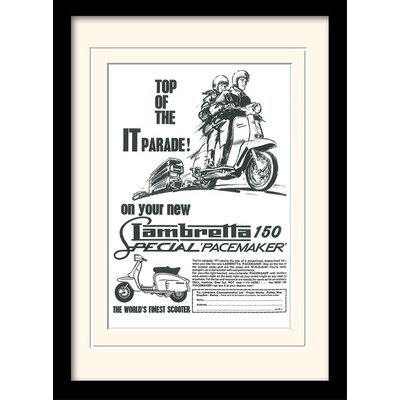 """Art Group Lambretta """"Top of the IT Parade""""  Framed Vintage Advertisement"""