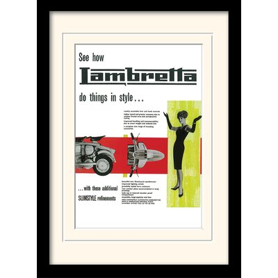 "Art Group Lambretta ""Do Things in Style"" Framed Vintage Advertisement"