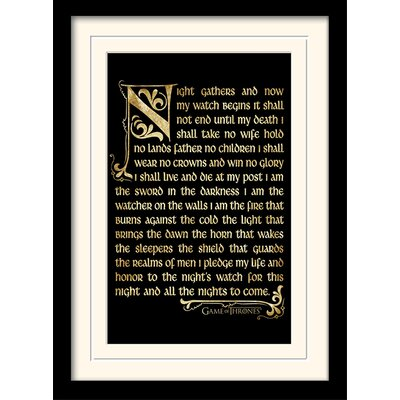 Art Group Game of Thrones Season 3 - Nightwatch Oath Framed Typography