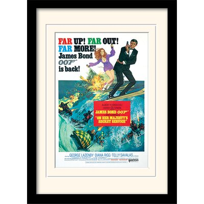 "Art Group James Bond ""On Her Majesty's Service One-Sheet"" Framed Vintage Advertisement"