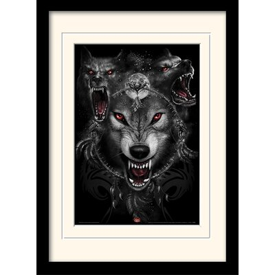 Art Group Spiral Wolf Triad Mounted Framed Graphic Art