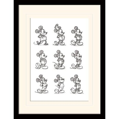 Art Group Mickey Mouse Sketched Mounted Framed Art Print