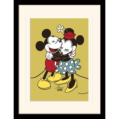 Art Group Mickey and Minnie Mouse True Love Mounted Framed Vintage Advertisement