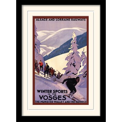 Art Group Winter Sports in The Vosges Framed Vintage Advertisement