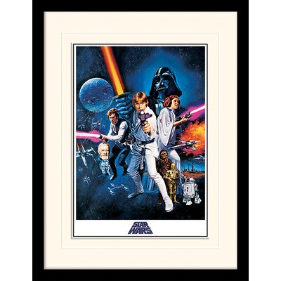 Art Group Star Wars A New Hope One Sheet Mounted Framed Vintage Advertisement