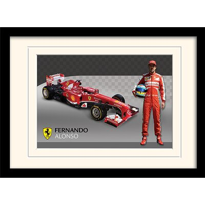 Art Group Ferrari Alonso and Car Framed Vintage Advertisement