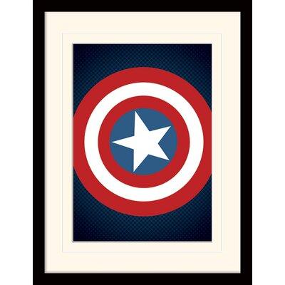 Art Group Captain America Shield Avengers Assemble Mounted Framed Graphic Art
