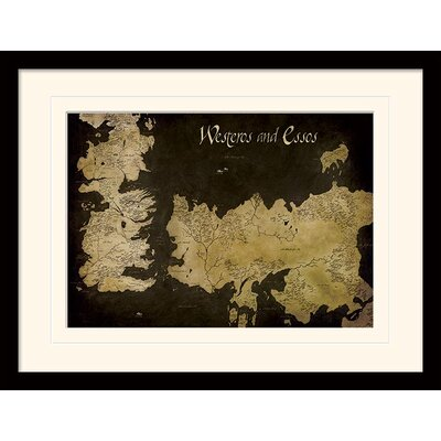 Art Group Game of Thrones Westeros and Essos Antique Map Framed Graphic Art