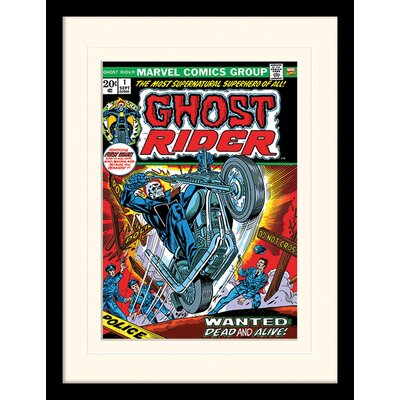 Art Group Ghost Rider Wanted Dead and Alive Framed Vintage Advertisement