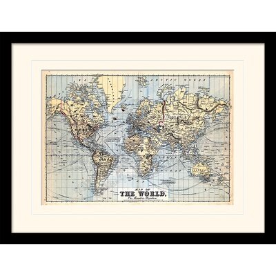 Art Group The World on Mercator's Projection 1874 Framed Graphic Art