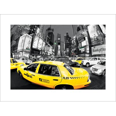 Art Group Rush Hour Times Square, Yellow Cabs Photographic Print