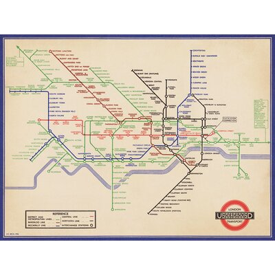 Art Group Vintage 1936 London Underground Map Graphic Art
