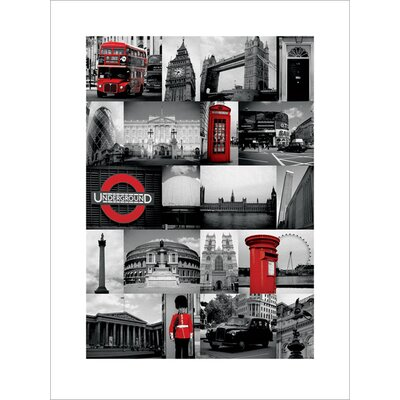Art Group London, Red Collage Graphic Art