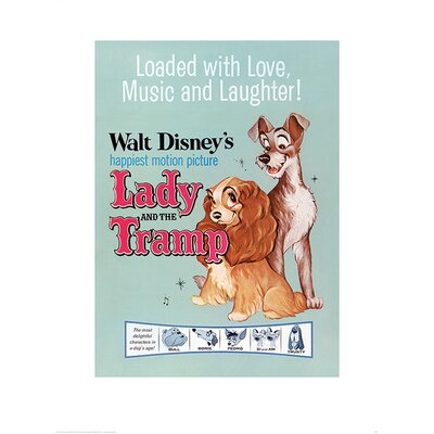 """Art Group Lady and The Tramp """"Love Music and Laughter"""" Poster Graphic Art"""