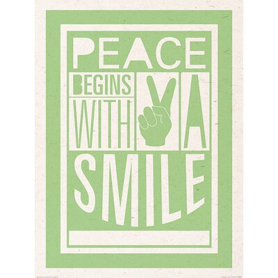 Art Group Peace Begins With A Smile by Sarah Winter Typography