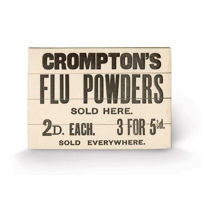 Art Group Compton's Flu Powders Typography Plaque