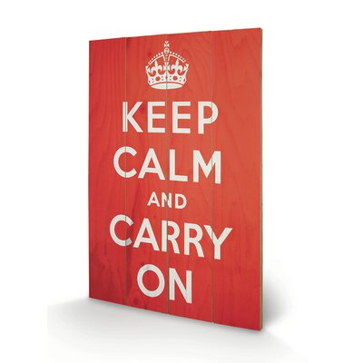 Art Group Keep Calm and Carry On Typography Plaque