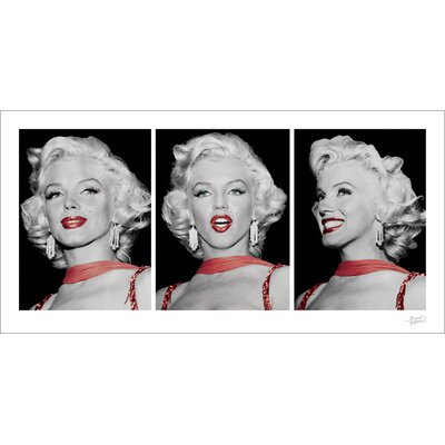 Art Group Marilyn Monroe, Red Dress Triptych Graphic Art