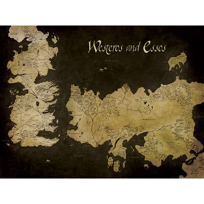 Art Group Game of Thrones, Westeros and Essos Antique Map Graphic Art