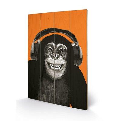 Art Group Chimpanzee Headphones Graphic Art Plaque