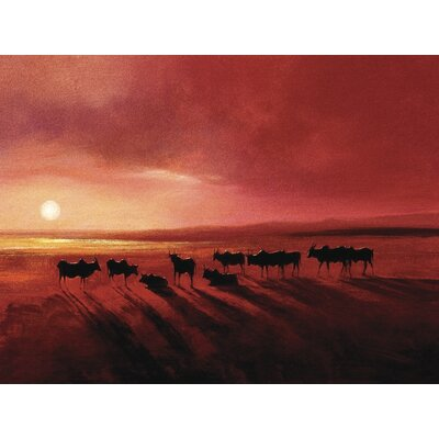 Art Group Zebu at Dusk by Jonathan Sanders Art Print on Canvas