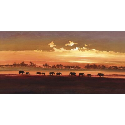 Art Group Wading Elephants by Jonathan Sanders Canvas Wall Art